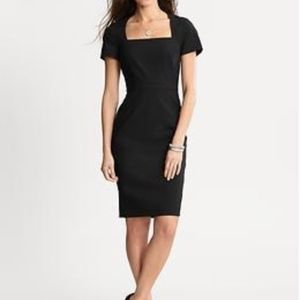 Square Neck Sheath Dress Stretch Wool